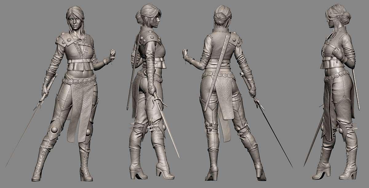 Створення персонажа «Ciri», зброї і бази декору «The Witcher 3» в ZBrush