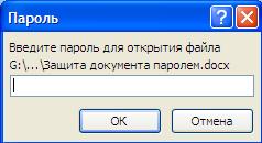 Рис.4 Открытие защищенного паролем документа.